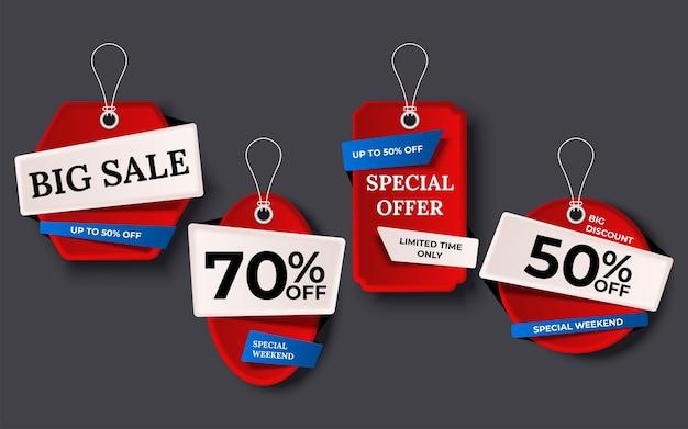 Etiquetas de venda banner conjunto de tags de fundo de coleção