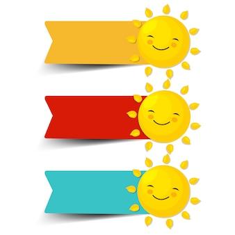 Etiquetas de venda coloridas com fundo branco isolado do sol