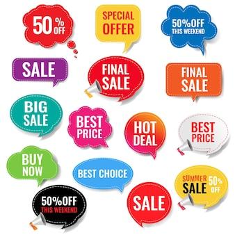 Etiquetas de venda com fundo transparente isolado com malha gradiente,