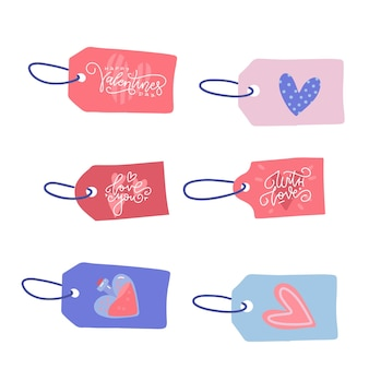 Etiquetas de venda de dia dos namorados com corda
