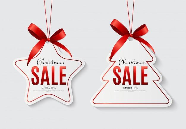 Etiquetas de venda de natal com laço