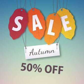 Etiquetas de venda de outono com etiquetas de folha de outono
