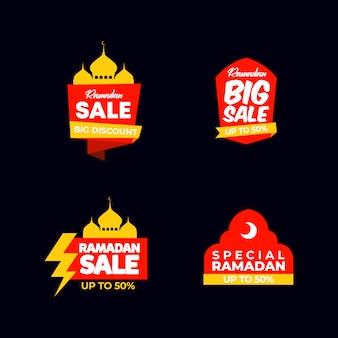 Etiquetas de venda de ramadan plana