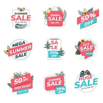 Etiquetas de venda de verão origami
