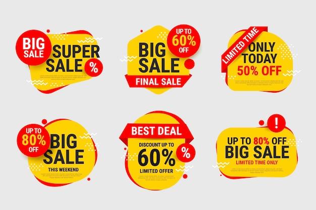 Etiquetas de venda definidas com desconto