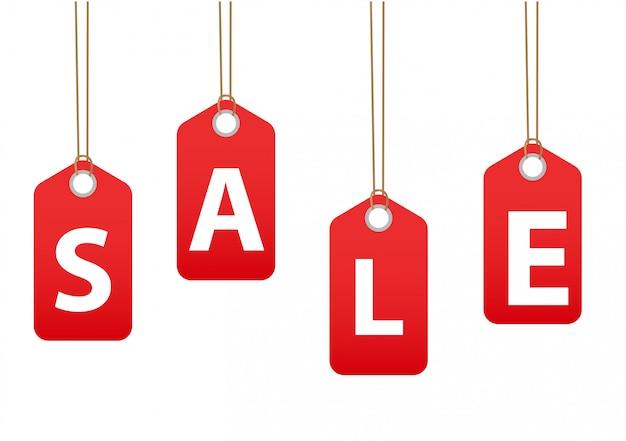 Etiquetas de venda. descontos de etiquetas vermelhas, ilustração