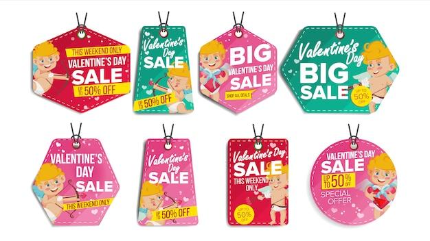 Etiquetas de venda do dia dos namorados