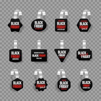 Etiquetas de vendas pretas balançam com o texto oferta especial de adesivo de desconto em vetor