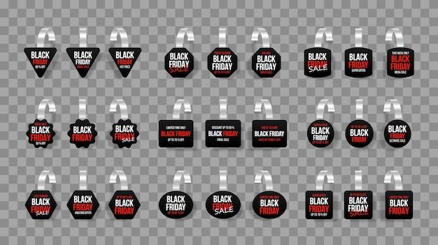 Etiquetas de vendas pretas balançam com texto etiqueta de desconto de vetor com faixa de preço de plástico