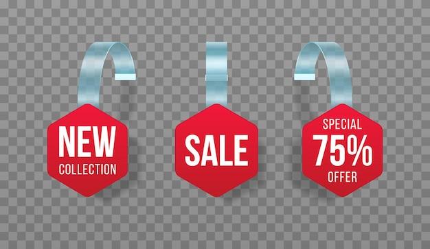 Etiquetas de vendas vermelhas balançam com faixa de preço de plástico de oferta especial de adesivo de desconto de texto