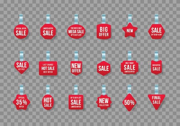 Etiquetas de vendas vermelhas balançam com o texto etiqueta de desconto de vetor com faixa de preço de plástico