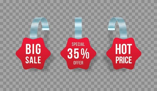 Etiquetas de vendas vermelhas balançam com texto, etiqueta de desconto com faixa de preço de plástico