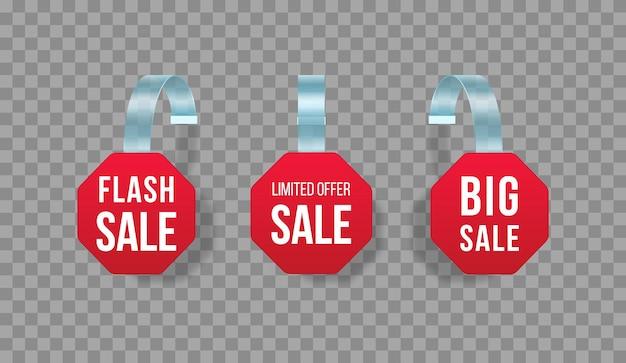 Etiquetas de vendas vermelhas balançam com texto faixa de preço de plástico de oferta especial de adesivo de desconto de vetor