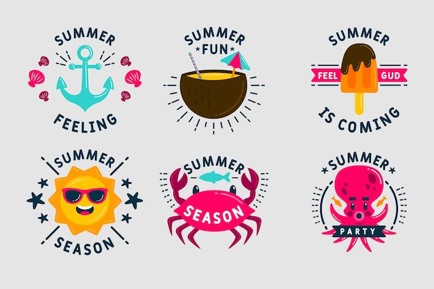 Etiquetas de verão de doces e criaturas subaquáticas