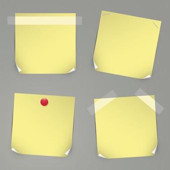Etiquetas de vetor amarelas realistas com fitas, alfinetes e cantos curvos.