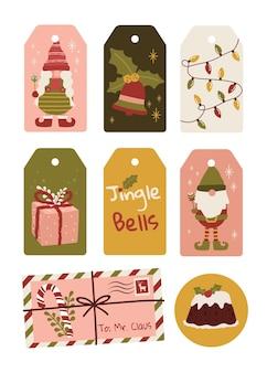 Etiquetas de vetor de ilustração de bolo de duende gnomos fofos feliz natal para presentes de natal
