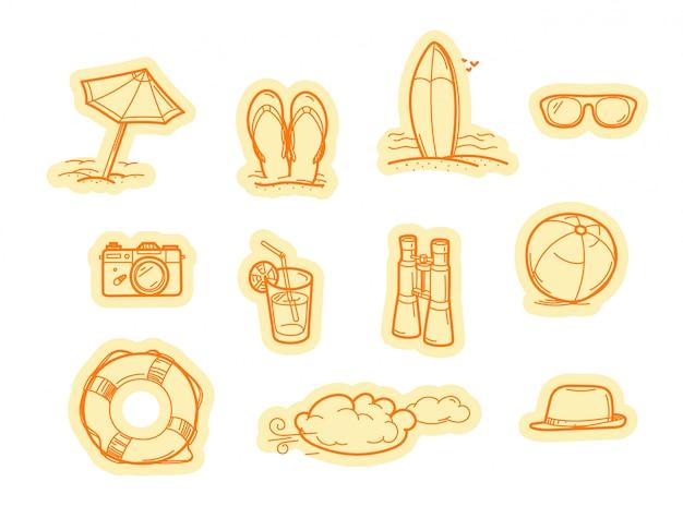 Etiquetas de vetor de objetos de praia de verão. conjunto de adesivos de vetor isolado