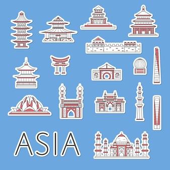 Etiquetas de viagem asiáticas definidas no estilo linear