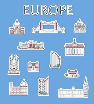 Etiquetas de viagem europeias definidas no estilo linear