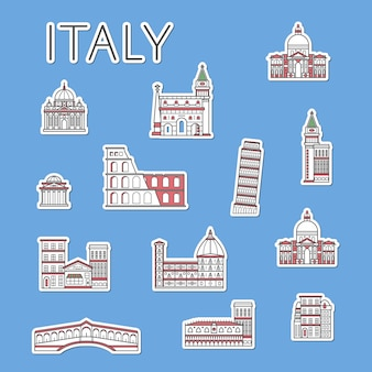 Etiquetas de viagem italianas definidas no estilo linear