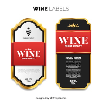 Etiquetas de vinho de luxo com detalhes vermelhos