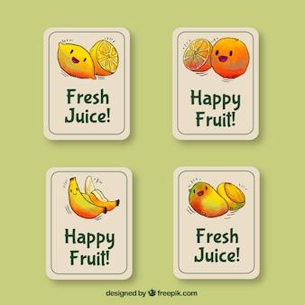 Etiquetas decorativas com personagens sorridentes de frutas