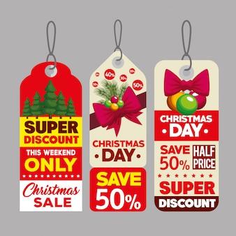 Etiquetas decorativas de venda de natal