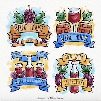 Etiquetas decorativas do vinho no estilo do watercolour