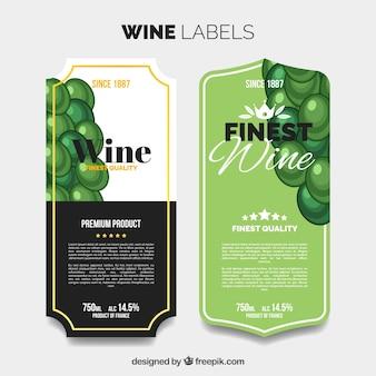Etiquetas desenhadas mão do vinho