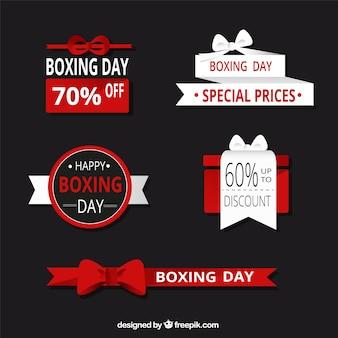 Etiquetas dia de boxe fantásticas com desenhos diferentes
