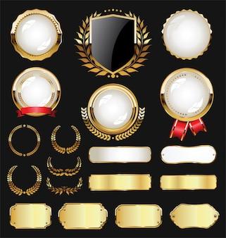 Etiquetas distintivo dourado e coleção vintage retro louro