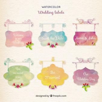Etiquetas do casamento da aguarela