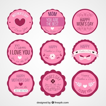 Etiquetas do dia das mães-de-rosa