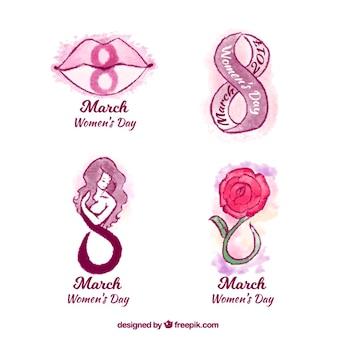 Etiquetas do dia das mulheres pintados com aguarela