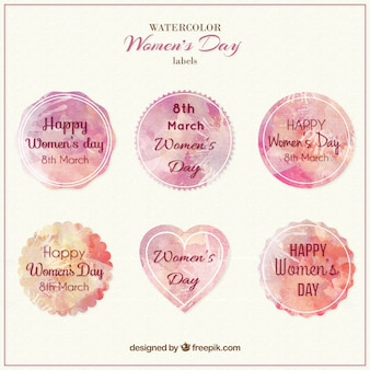 Etiquetas do dia das mulheres watercolor