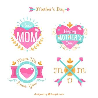 Etiquetas do dia de mãe com decoração floral
