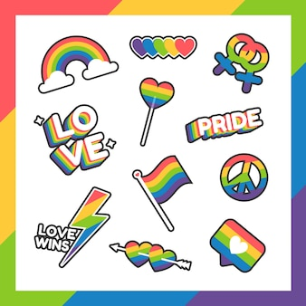 Etiquetas do dia do orgulho ou coleção de adesivos em design plano com as cores do arco-íris
