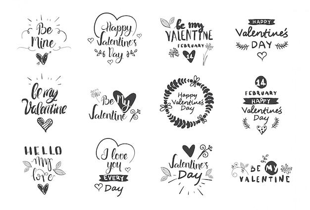 Etiquetas do dia dos namorados, emblemas e ícones, cartões de cumprimentos de amor, conjunto de elementos de design de tipografia