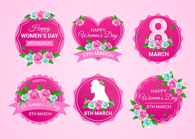 Etiquetas do dia internacional da mulher plana