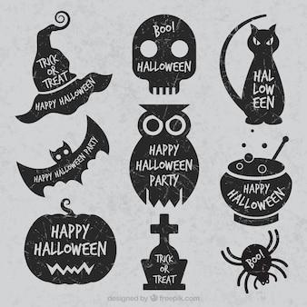 Etiquetas do grunge de halloween