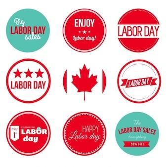 Etiquetas do grunge do dia de trabalho canadense e distintivos