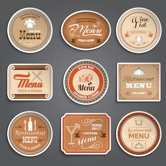 Etiquetas do menu vintage