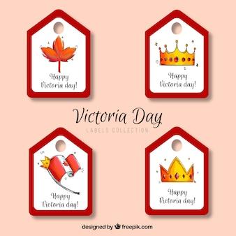 Etiquetas do pacote do dia de victoria