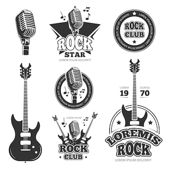 Etiquetas do vetor da música do rock and roll do vintage, emblemas, crachás, etiqueta com as silhuetas da guitarra e do orador. emblema da música rock, retro vintage rock and roll rótulo ilustração