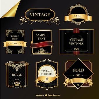 Etiquetas do vetor dourado do vintage