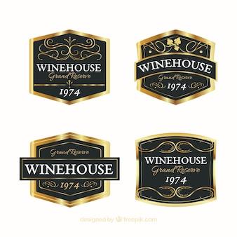 Etiquetas do vinho elegante do bloco