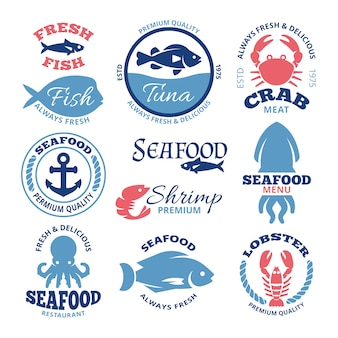 Etiquetas do vintage do vetor do marisco e emblemas náuticos do restaurante. emblema de frutos do mar para restaurante, mercado ilustração de distintivo de peixe fresco