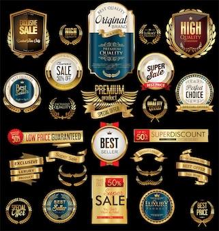 Etiquetas douradas de venda com design retro vintage