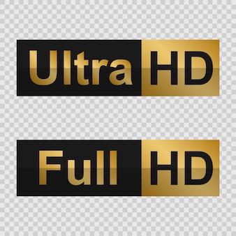 Etiquetas douradas full hd e ultra hd. sinal de tecnologia moderna