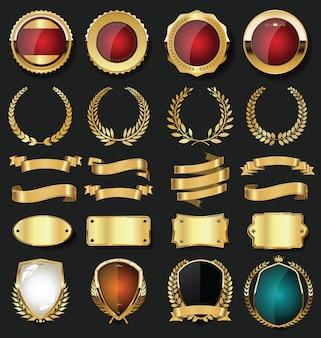 Etiquetas douradas vazias com design retro vintage